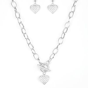 Harvard Hearts - White Rhinestone Necklace Set